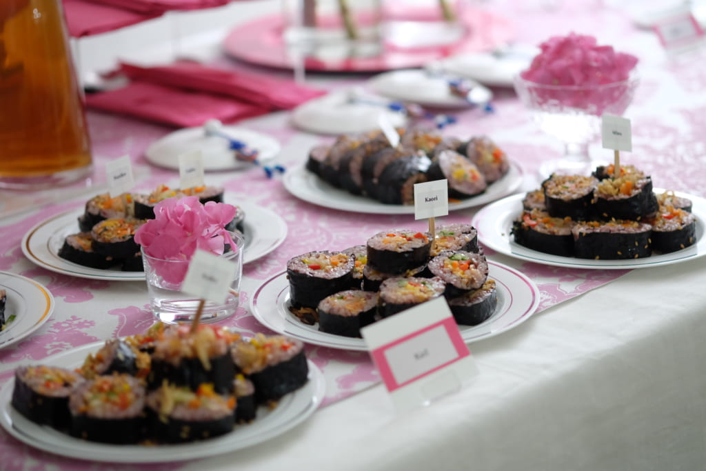 ホームパーティー ビュッフェスタイル 巻寿司